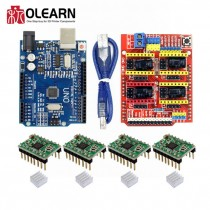 CNC Shield Expansion Board +UNO R3 Board With USD For Arduino+4pcs Stepper Motor Driver A4988 Kits